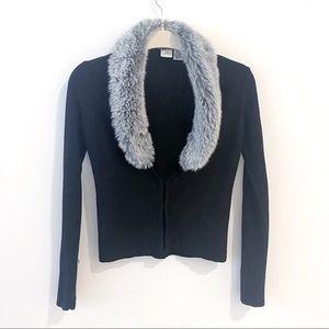 Armani Exchange A|X Faux Fur Collar Cardigan Small